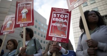 Nurses protest for improved Ebola safeguards, as part of a nationwide action, in Los Angeles